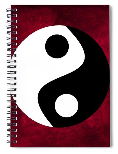 Yin And Yang - Dark Red Spiral Notebook