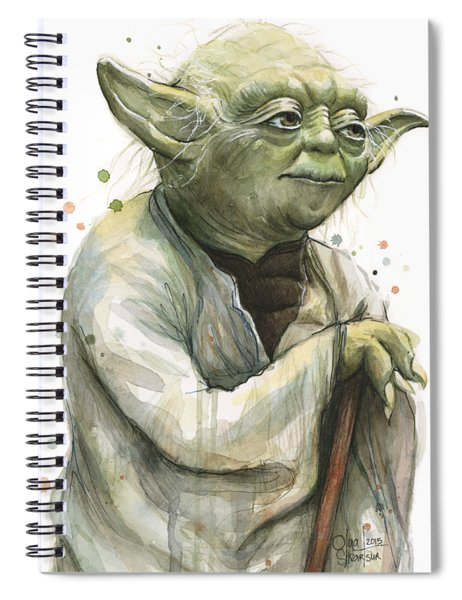 Yoda Portrait Spiral Notebook by Olga Shvartsur