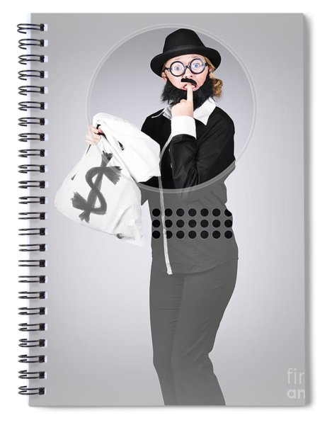 Young Business Person Holding Money At Bank Teller Spiral Notebook
