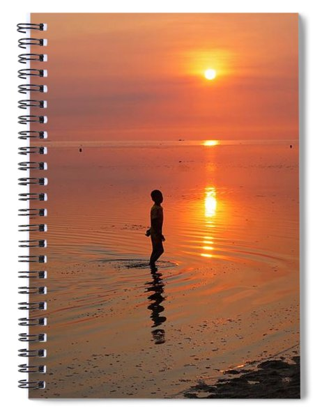 Young Fishermen At Sunset Spiral Notebook