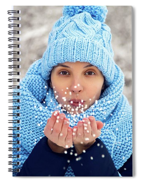 Young Girl In Blue Knitted Hat, Scarf Blows Snow Spiral Notebook