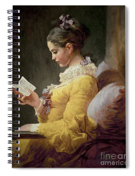 Young Girl Reading Spiral Notebook