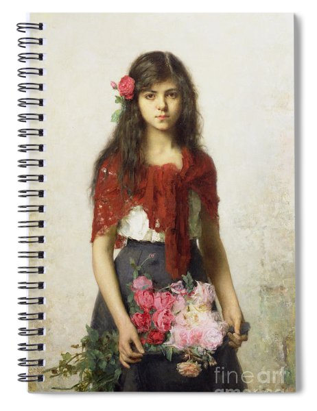 Young Girl With Blossoms Spiral Notebook