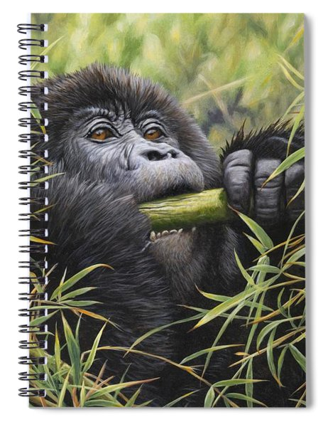 Spiral Notebook featuring the painting Young Mountain Gorilla by Alan M Hunt