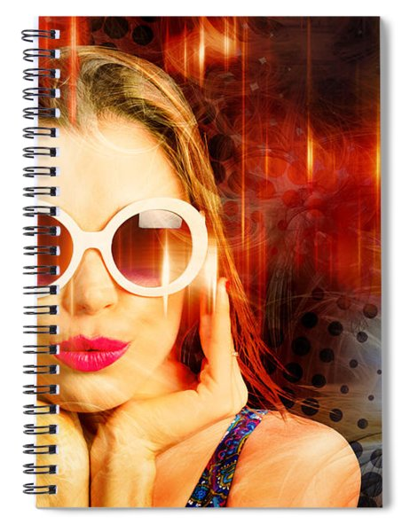 Young Retro Woman Listening To Earphones Spiral Notebook