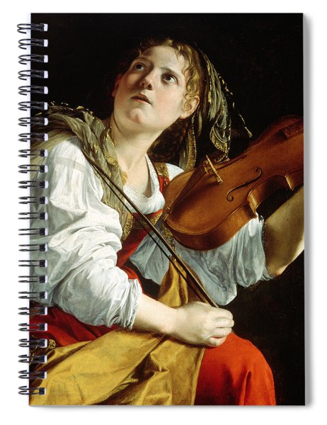 Young Woman With A Violin Spiral Notebook