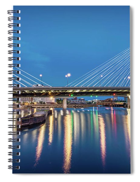 Zakim Bridge And Charles River At Dawn Spiral Notebook