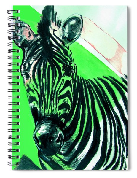 Zebra In Green Spiral Notebook