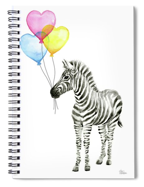 Baby Zebra Watercolor Animal With Balloons Spiral Notebook