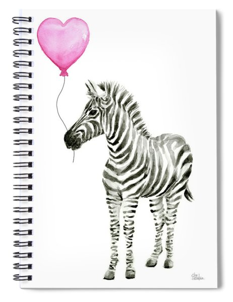 Zebra Watercolor Whimsical Animal With Balloon Spiral Notebook