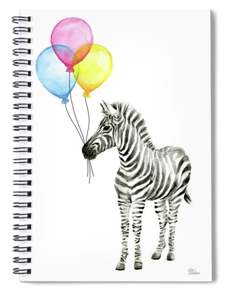 Zebra Watercolor With Balloons Spiral Notebook