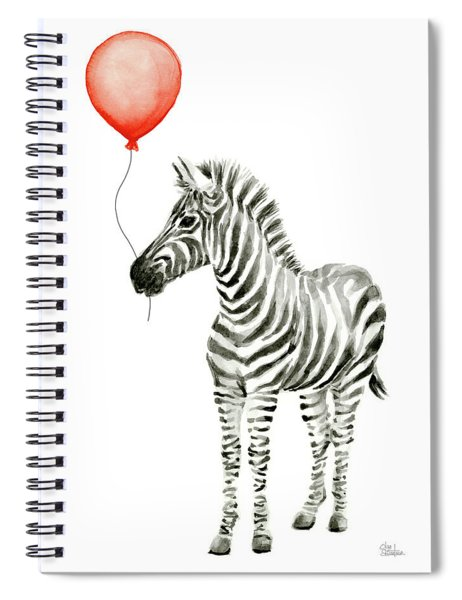 Zebra With Red Balloon Whimsical Baby Animals Spiral Notebook