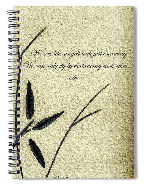 Zen Sumi 4d Antique Motivational Flower Ink On Watercolor Paper By Ricardos Spiral Notebook