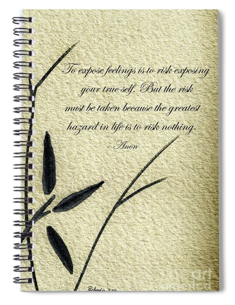 Zen Sumi 4m Antique Motivational Flower Ink On Watercolor Paper By Ricardos Spiral Notebook