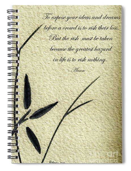 Zen Sumi 4n Antique Motivational Flower Ink On Watercolor Paper By Ricardos Spiral Notebook