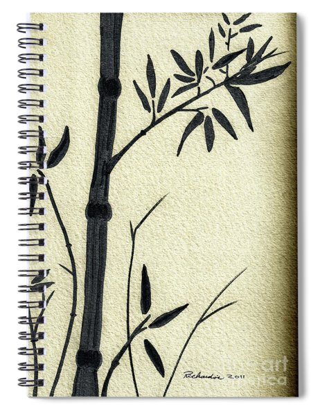 Zen Sumi Antique Bamboo 1a Black Ink On Fine Art Watercolor Paper By Ricardos Spiral Notebook