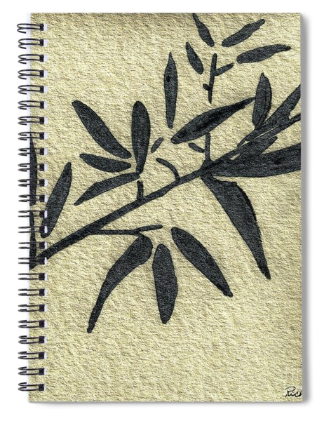 Zen Sumi Antique Botanical 4a Ink On Fine Art Watercolor Paper By Ricardos Spiral Notebook