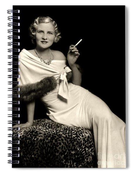 Ziegfeld Model Reclining In Evening Dress  Holding Cigarette By Alfred Cheney Johnston Spiral Notebook