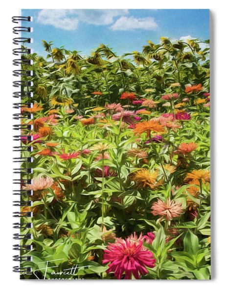 Zinnias And Sunflowers Spiral Notebook