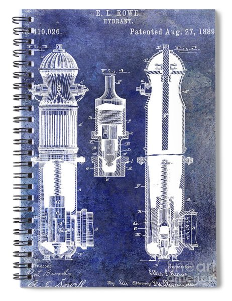 1889 Fire Hydrant Patent Blue Spiral Notebook