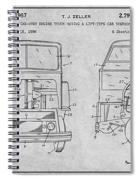 1956 Mack Cab Over Diesel Semi Truck Gray Patent Print Spiral Notebook