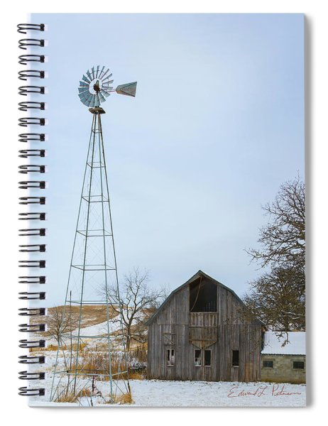 Barn And Windmill Spiral Notebook by Edward Peterson