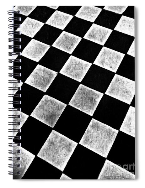 Black And White Floor Tile Spiral Notebook