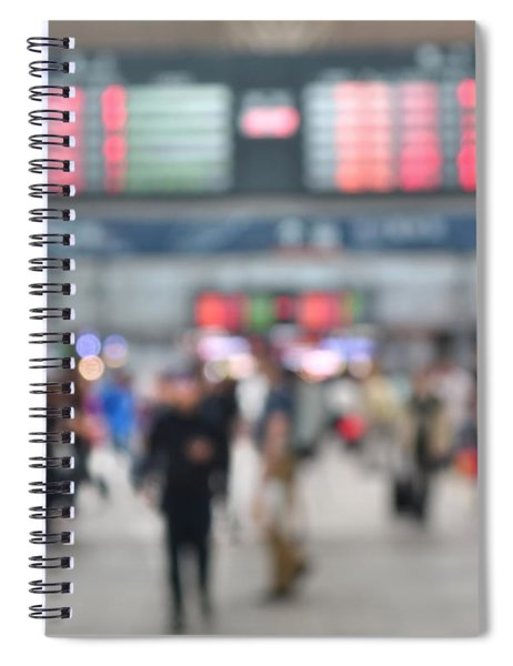 Blurred Background Of Busy Transportation Hub Spiral Notebook