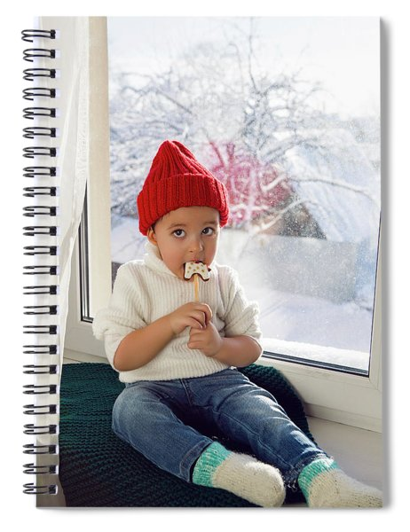 Boy In A White Sweater And A Red Knitted Hat Sits On The Windowsill Spiral Notebook