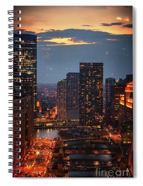 Chicago Sunset Spiral Notebook
