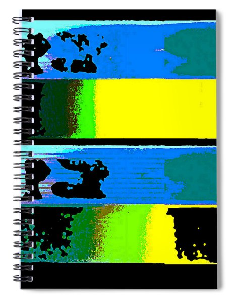 Spiral Notebook featuring the digital art Cityscapel 4000 Original Fine Art Painting Digital Abstract Triptych by G Linsenmayer
