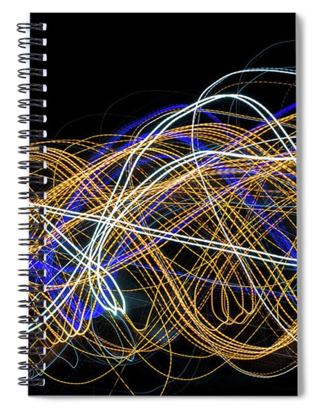 Colorful Light Painting With Circular Shapes And Abstract Black Background. Spiral Notebook