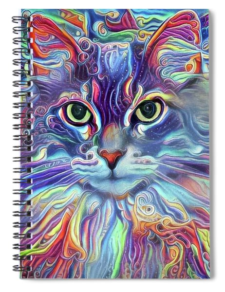Colorful Long Haired Cat Art Spiral Notebook