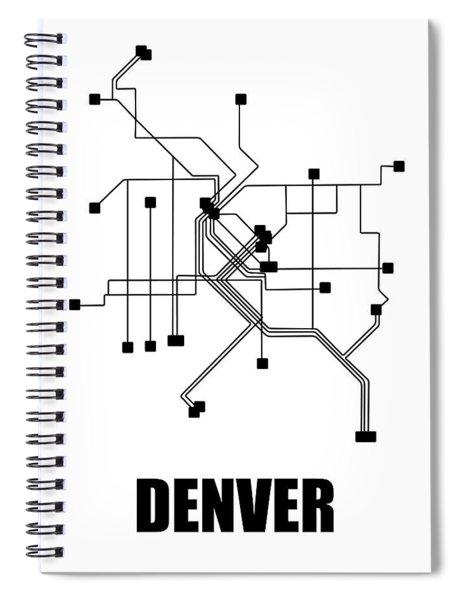 Denver White Subway Map Spiral Notebook
