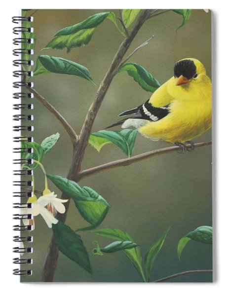 Goldfinch And Snowbells Spiral Notebook