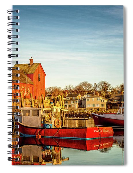 Low Tide And Lobster Boats At Motif #1 Spiral Notebook