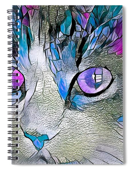 Purple Stained Glass Kitty Spiral Notebook