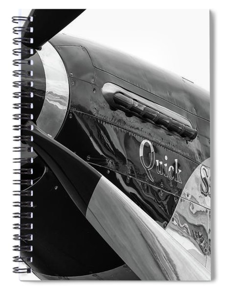 Quick Silver In Black And White Spiral Notebook