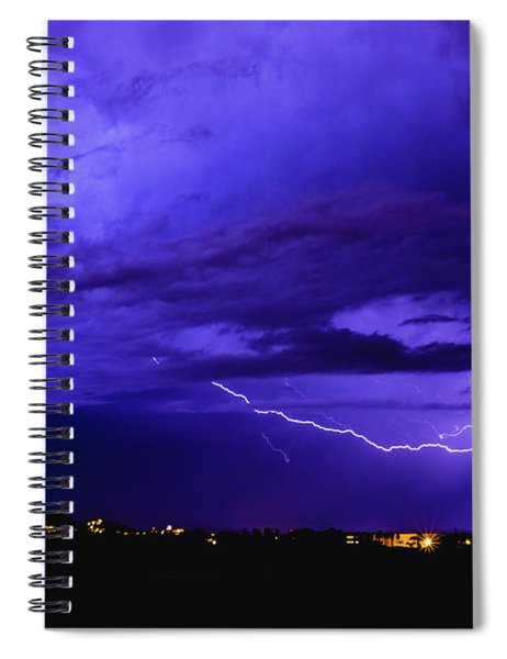 Rays In A Night Storm With Light And Clouds. Spiral Notebook