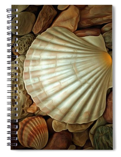 Shell On Sea Pebble Stones Spiral Notebook