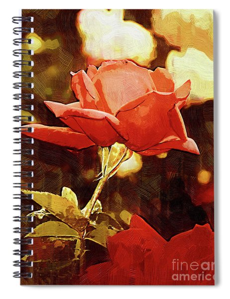 Single Rose Bloom In Gothic Spiral Notebook