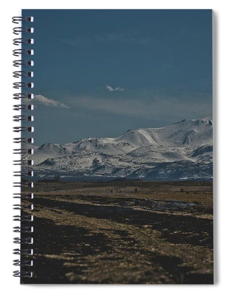 Snow-covered Mountains In The Turkish Region Of Capaddocia. Spiral Notebook