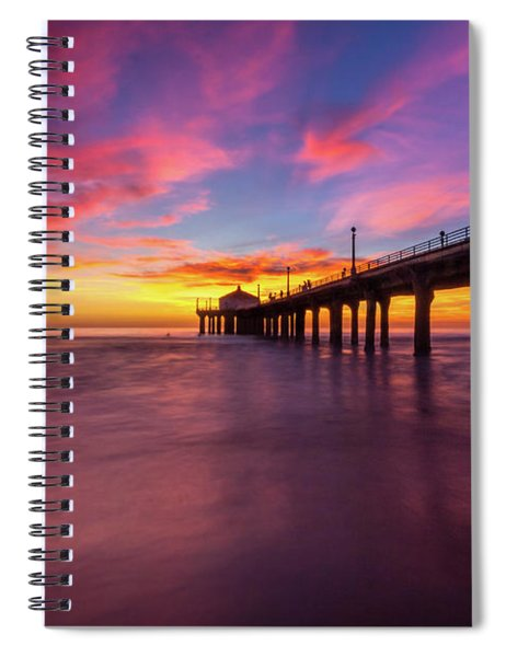 Stunning Sunset At Manhattan Beach Pier Spiral Notebook