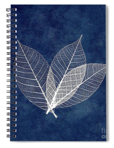 Three White Leaves On Blue Spiral Notebook