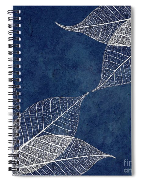 White Leaves On Blue Spiral Notebook