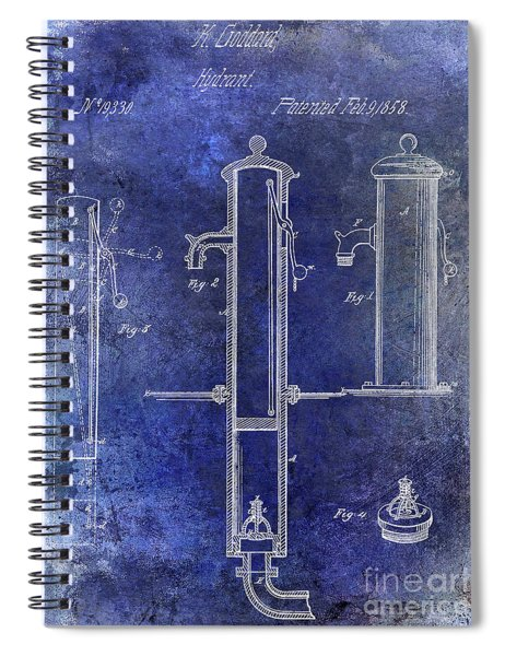 1858 Fire Hydrant Patent Blue Spiral Notebook