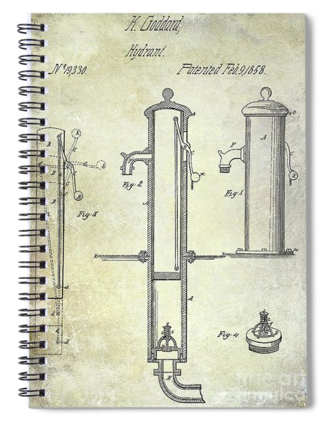 1858 Fire Hydrant Patent Spiral Notebook