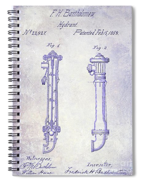 1859 Fire Hydrant Patent Blueprint Spiral Notebook