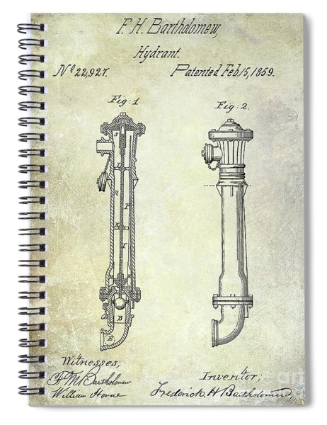 1859 Fire Hydrant Patent Spiral Notebook