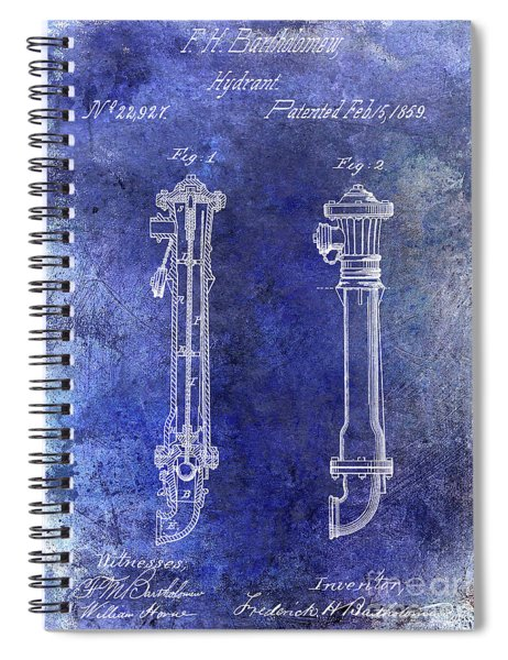 1859 Hire Hydrant Patent Blue Spiral Notebook
